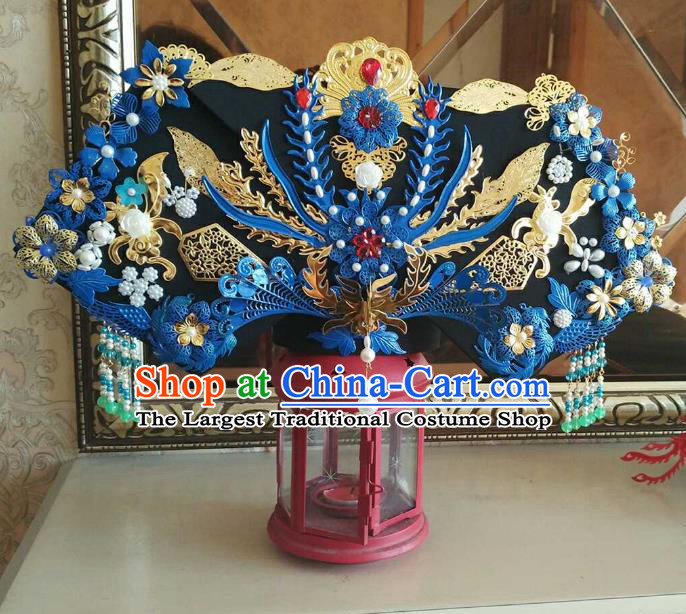 Chinese Ancient Handmade Qing Dynasty Manchu Queen Phoenix Coronet Hairpins Hair Accessories Complete Set for Women