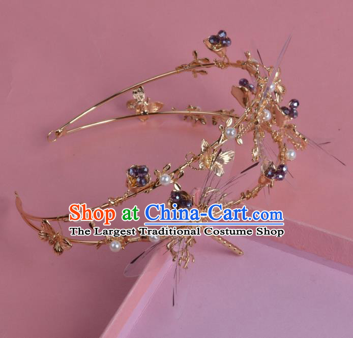 Handmade Baroque Bride Baroque Dragonfly Royal Crown Wedding Queen Hair Jewelry Accessories for Women