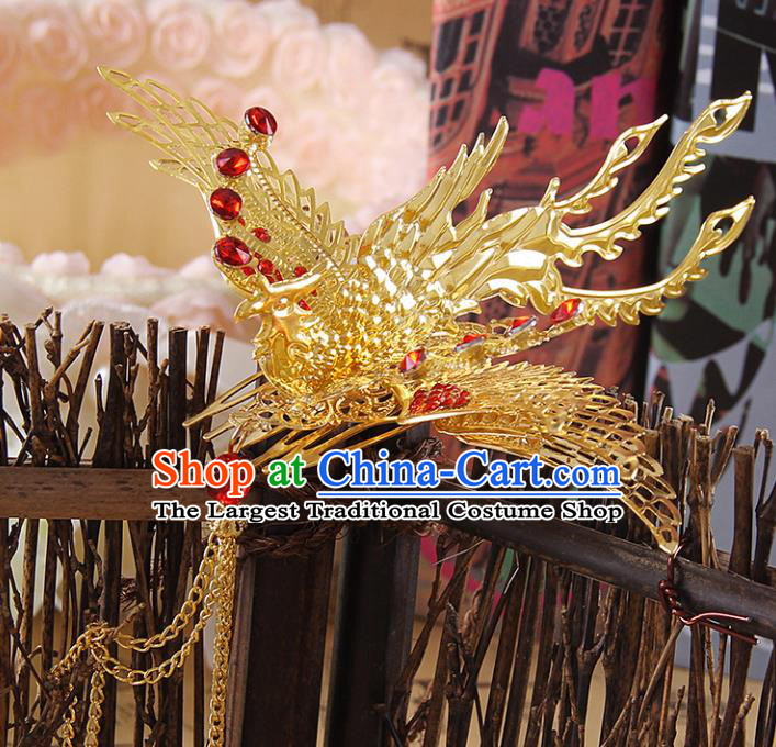 Chinese Ancient Handmade Golden Phoenix Hair Comb Hairpins Bride Hair Accessories Headwear for Women