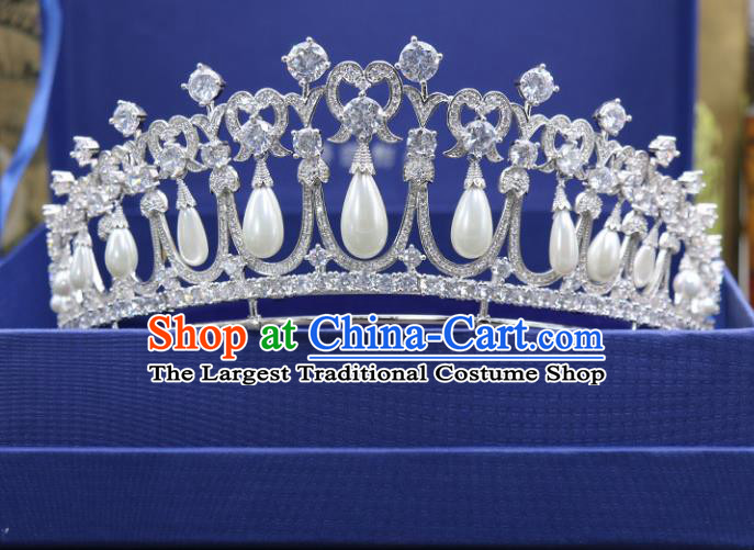 Handmade Wedding Baroque Queen Zircon Pearls Royal Crown Bride Hair Jewelry Accessories for Women