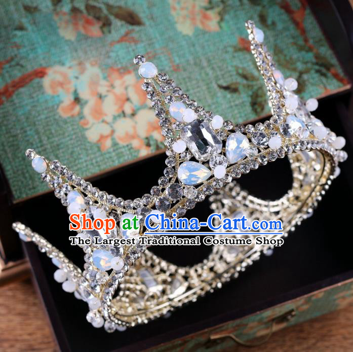 Handmade Wedding Baroque Queen Crystal Opal Royal Crown Bride Hair Jewelry Accessories for Women