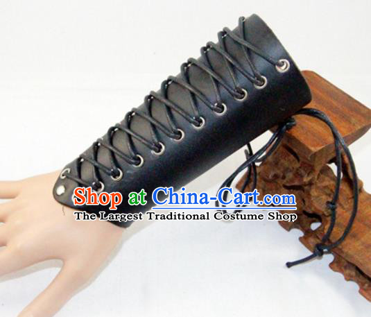 Ancient Cosplay Chinese General Wrist Guard Warriors Black Leather Waist Accessories for Men