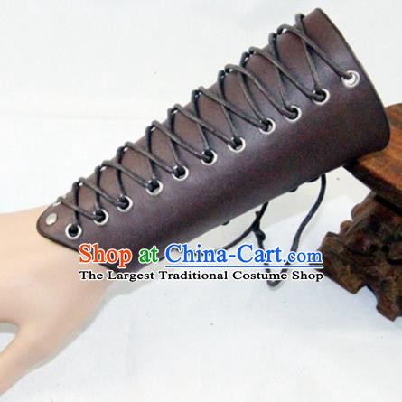 Ancient Cosplay Chinese General Wrist Guard Warriors Brown Leather Waist Accessories for Men