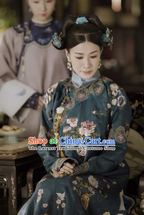Ancient Story of Yanxi Palace Chinese Qing Dynasty Imperial Concubine Embroidered Costumes and Headpiece for Women