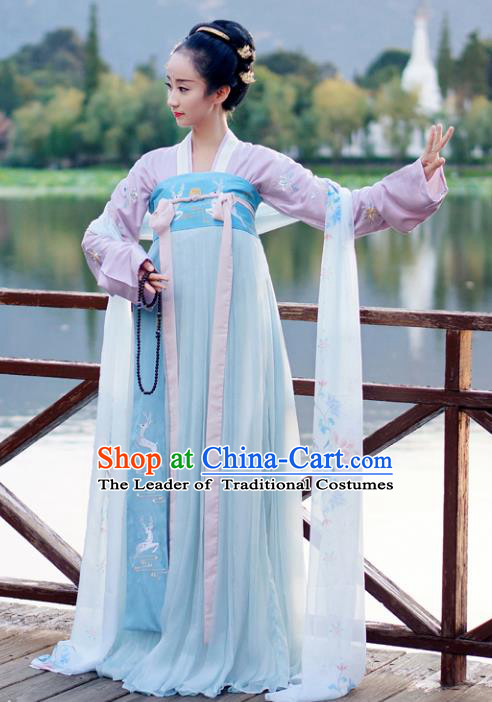 Traditional Chinese Ancient Court Maid Embroidered Costume Tang Dynasty Las Meninas Dance Hanfu Dress for Women