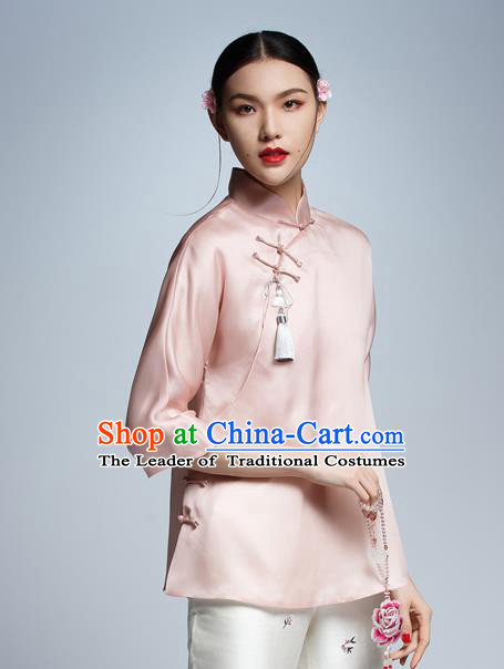 d557deac0e20e Chinese Traditional Costume Pink Silk Cheongsam Blouse China National Upper  Outer Garment Shirt for Women