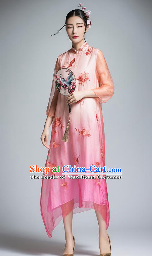 Chinese Traditional Tang Suit Embroidered Peony Organza Cheongsam China National Qipao Dress for Women