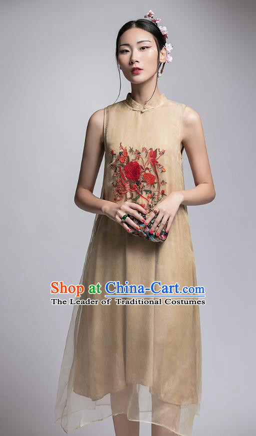 Chinese Traditional Tang Suit Embroidered Peony Cheongsam China National Khaki Qipao Dress for Women
