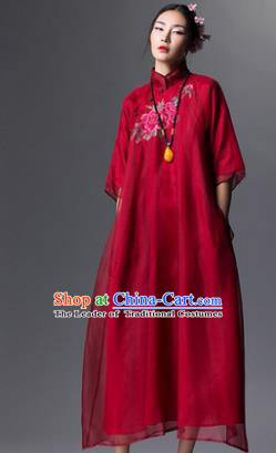 Chinese Traditional Tang Suit Red Cheongsam China National Embroidered Peony Qipao Dress for Women