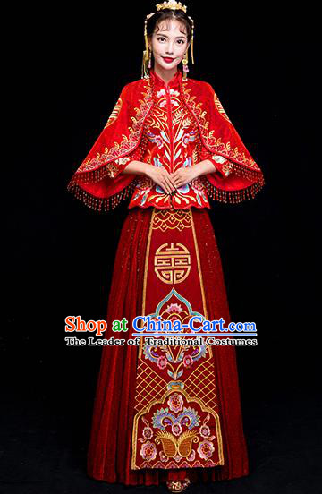 Chinese Traditional Wedding Costumes China Ancient Bride Xiuhe Suit Embroidered Clothing for Women