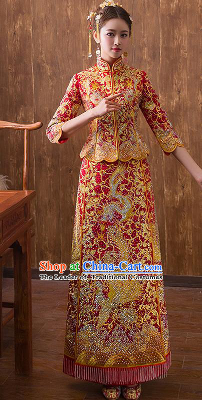 Traditional Chinese Ancient Red Diamante Bottom Drawer Embroidered Dragon Phoenix Xiuhe Suit Wedding Dress Toast Cheongsam for Women