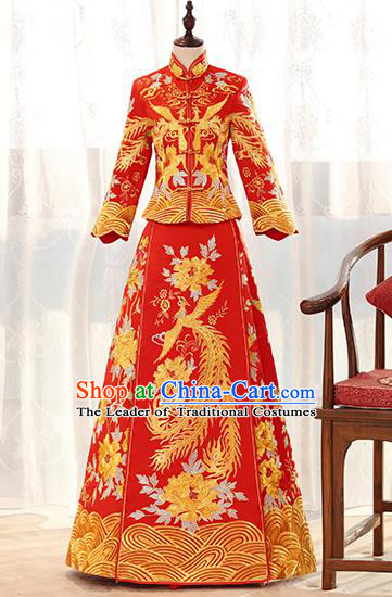 Traditional Chinese Ancient Red Bottom Drawer Embroidered Peony Phoenix Xiuhe Suit Wedding Dress Toast Cheongsam for Women