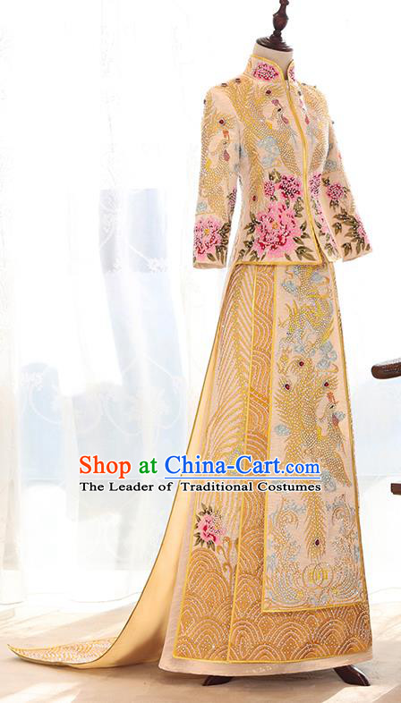 Traditional Chinese Ancient Yellow Trailing Bottom Drawer Embroidered Diamante Xiuhe Suit Wedding Dress Toast Cheongsam for Women