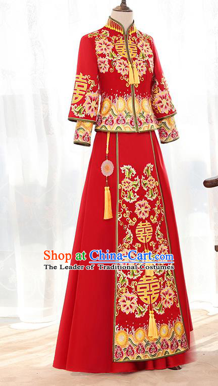 Traditional Chinese Ancient Bottom Drawer Embroidered Flowers Xiuhe Suit Wedding Dress Toast Cheongsam for Women
