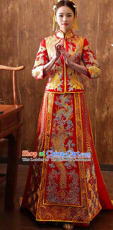 Traditional Chinese Ancient Diamante Bottom Drawer Embroidered Flowers Xiuhe Suit Wedding Dress Toast Cheongsam for Women