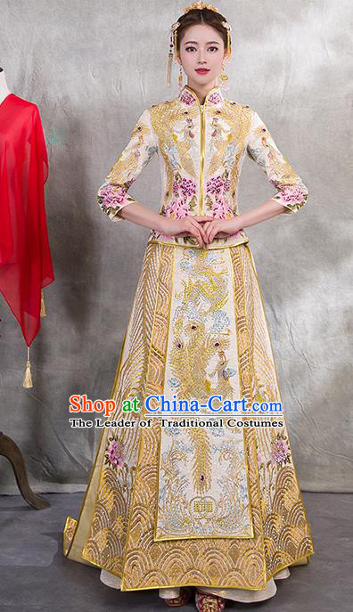 Traditional Chinese Ancient Diamante Yellow Bottom Drawer Embroidered Phoenix Xiuhe Suit Wedding Dress Toast Cheongsam for Women