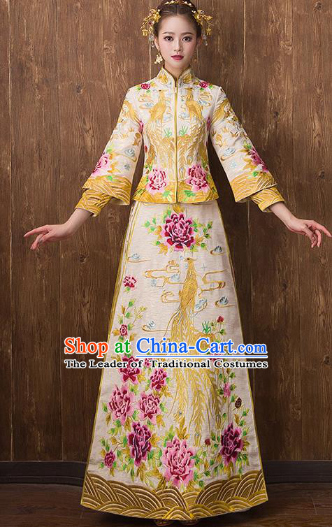 Traditional Chinese Ancient Yellow Toast Cheongsam Embroidered Peony Bottom Drawer Xiuhe Suit Wedding Dress for Women