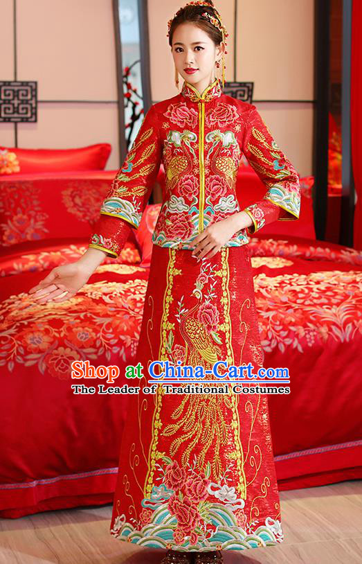 Traditional Chinese Ancient Embroidered Phoenix Peony Toast Cheongsam Red Bottom Drawer Xiuhe Suit Wedding Dress for Women