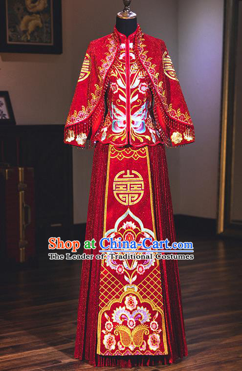 Chinese Traditional Wedding Delicate Embroidered Bottom Drawer Ancient Bride Xiuhe Suit Costume for Women