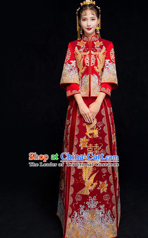 Chinese Traditional Xiuhe Suit Embroidered Wedding Dress Ancient Bride Diamante Cheongsam for Women