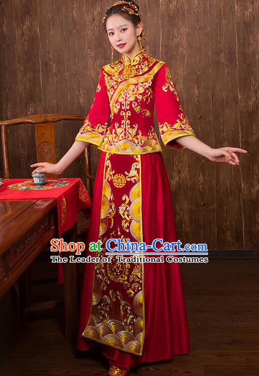 Chinese Traditional Embroidered Red Xiuhe Suit Wedding Dress Ancient Bride Cheongsam for Women