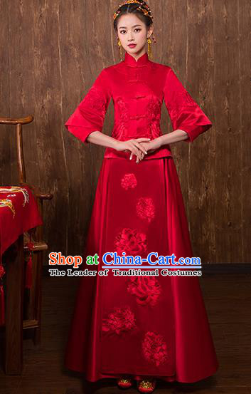 Chinese Traditional Embroidered Peony Bridal Xiuhe Suit Wedding Dress Ancient Bride Cheongsam for Women