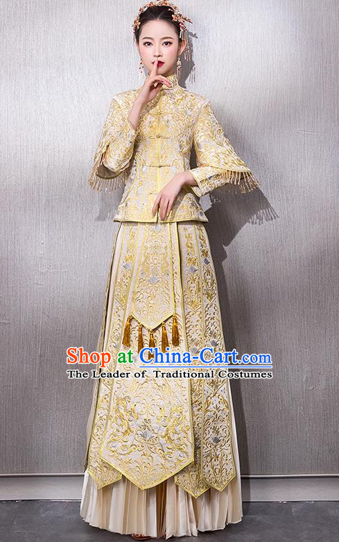 Chinese Traditional Bridal Golden Xiuhe Suit Embroidered Wedding Dress Ancient Bride Cheongsam for Women