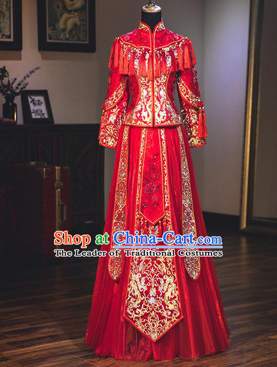 Chinese Traditional Delicate Embroidered Red Wedding Dress Ancient Bride Xiuhe Suit Costume for Women