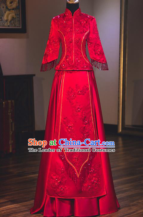 Chinese Traditional Delicate Embroidered Wedding Dress Ancient Bride Longfeng Flown Xiuhe Suit Costume for Women