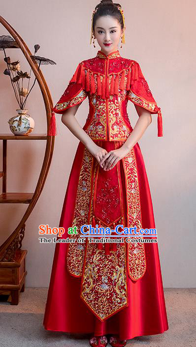 Chinese Traditional Bridal Red Tassel Xiuhe Suit Embroidered Wedding Dress Ancient Bride Cheongsam for Women