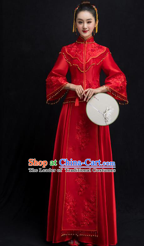 Chinese Traditional Bridal Red Embroidered Xiuhe Suit Wedding Dress Ancient Bride Cheongsam for Women