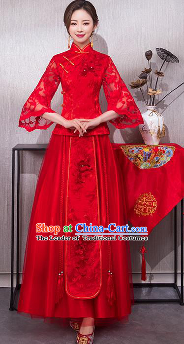 Chinese Traditional Wedding Bridal Embroidered Lace Xiuhe Suit Ancient Bride Red Cheongsam for Women