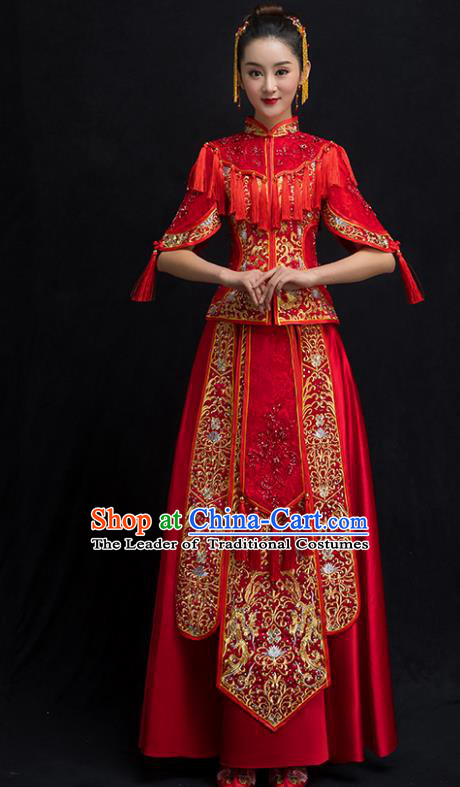 Chinese Traditional Embroidered Wedding Costume Bridal Xiuhe Suit Ancient Bride Red Cheongsam for Women