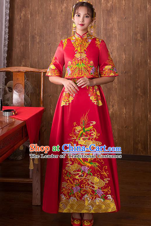 Chinese Traditional Embroidered Bottom Drawer Wedding Costume Bridal Xiuhe Suit Ancient Toast Cheongsam for Women