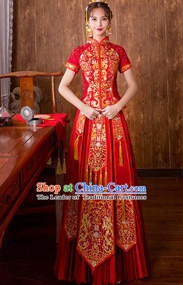 Chinese Traditional Embroidered Red Bottom Drawer Bridal Wedding Xiuhe Suit Ancient Toast Cheongsam for Women
