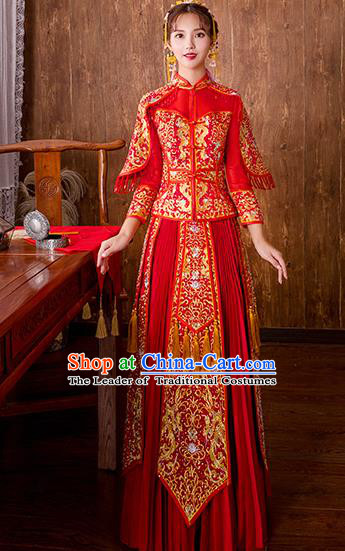 Chinese Traditional Embroidered Diamante Bottom Drawer Bridal Wedding Xiuhe Suit Ancient Toast Cheongsam for Women