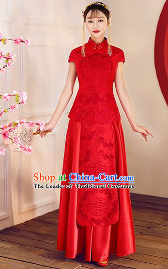 Chinese Traditional Embroidered Xiuhe Suit Ancient Wedding Short Sleeve Red Toast Cheongsam Dress for Women
