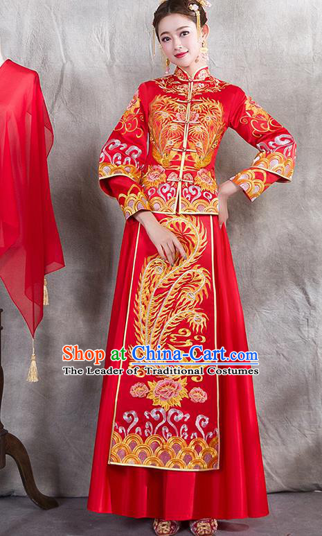 Chinese Traditional Embroidered Phoenix Xiuhe Suit Ancient Wedding Red Dress Toast Cheongsam for Women