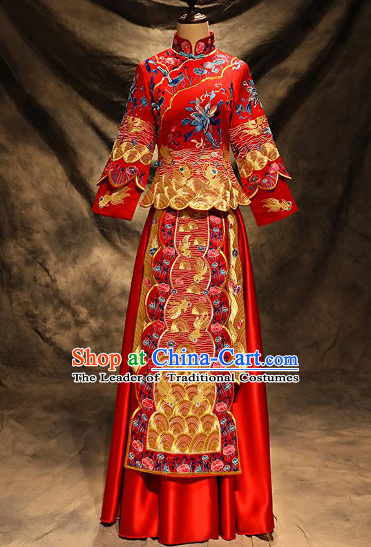 Traditional Chinese Toast Cheongsam Ancient Embroidered Bottom Drawer Xiuhe Suit Wedding Dress for Women
