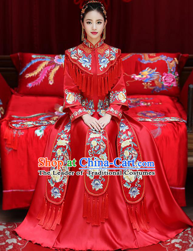 Chinese Traditional Embroidered Peony Xiuhe Suit Longfeng Flown Ancient Bottom Drawer Wedding Dress for Women