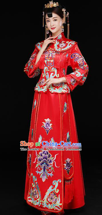 Chinese Traditional Xiuhe Suit Longfeng Flown Ancient Bottom Drawer Wedding Dress for Women