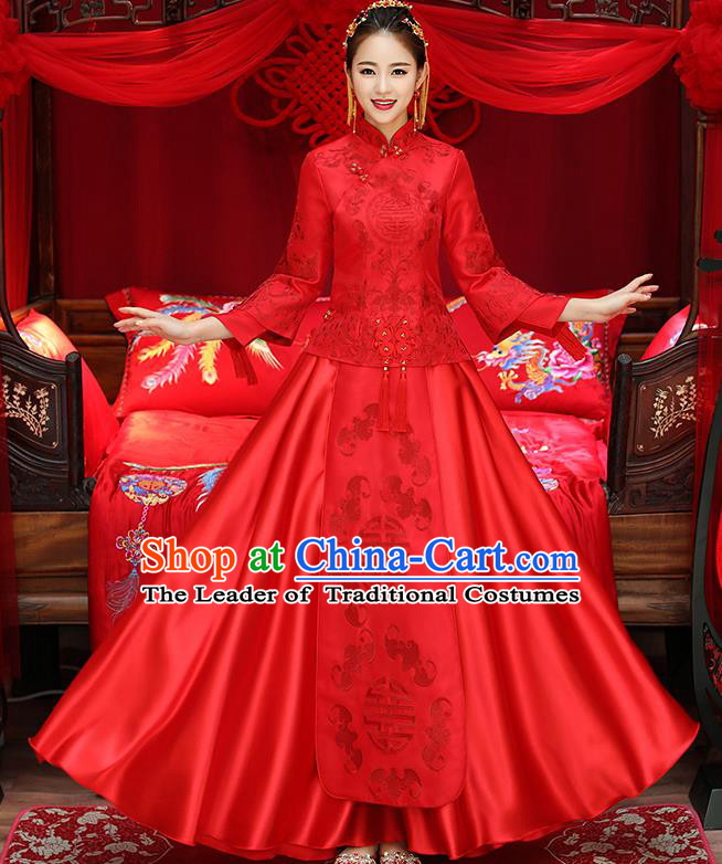 Chinese Traditional Xiuhe Suit Red Toast Cheongsam Ancient Embroidered Phoenix Bottom Drawer Wedding Dress for Women