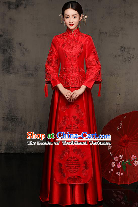 Chinese Traditional Embroidered Xiuhe Suit Red Toast Cheongsam Ancient Phoenix Bottom Drawer Wedding Dress for Women