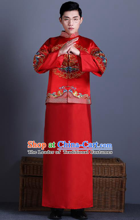 Chinese Traditional Bridegroom Xiuhe Suit Costume Ancient Tang Suit Embroidered Red Clothing for Men