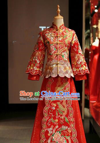 Chinese Traditional Bride Red Xiuhe Suit Ancient Longfeng Flown Embroidered Peony Wedding Cheongsam Dress for Women