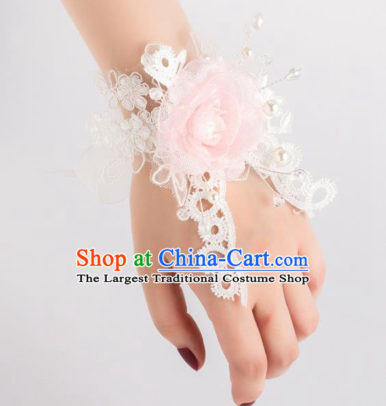 Top Grade Bride Waist Accessories Silk Rose Wrist Flowers Bracelet for Women
