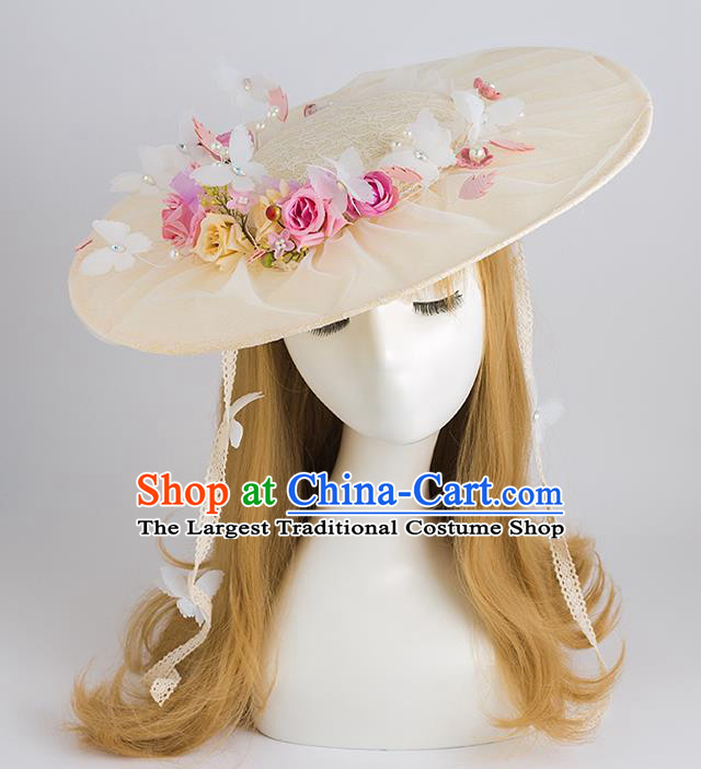 Top Grade Bride Wedding Hair Accessories Flowers Top Hat for Women