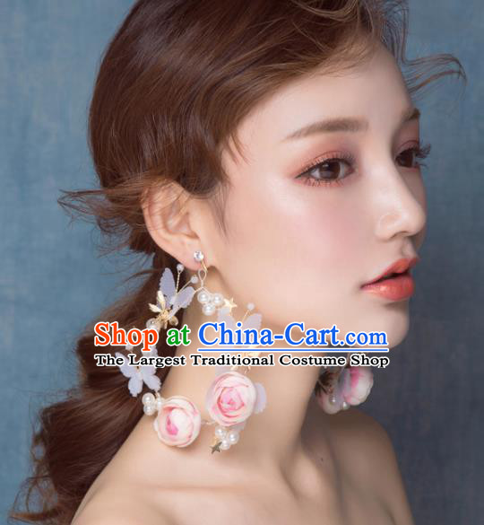 Top Grade Bride Wedding Accessories Pink Rose Earrings for Women