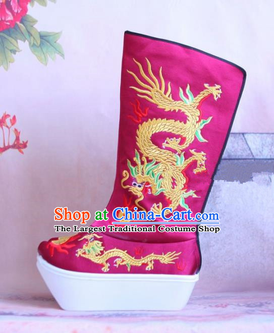 Chinese Traditional Beijing Opera Emperor Shoes Beijing Opera Takefu Rosy Embroidered Boots for Men