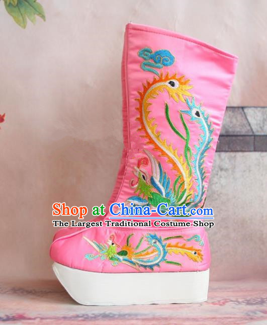 Chinese Traditional Beijing Opera Emperor Shoes Beijing Opera Takefu Pink Embroidered Boots for Men